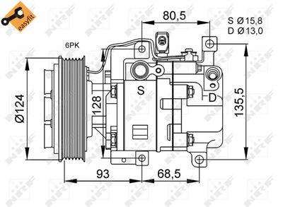 NRF Compressor, airconditioning EASY FIT (32408)