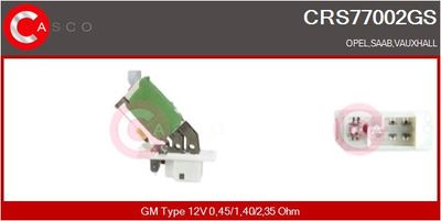 CASCO Weerstand, interieurventilator (CRS77002GS)
