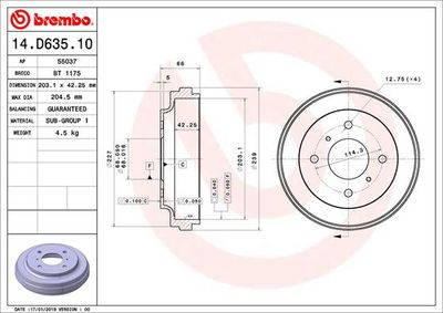 BREMBO Remtrommel (14.D635.10)