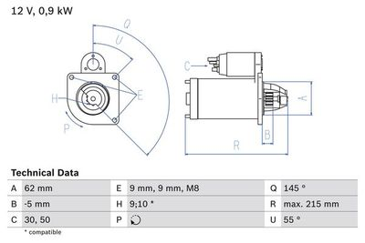 BOSCH Startmotor / Starter (0 986 013 850)