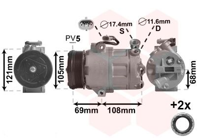 VAN WEZEL Compressor, airconditioning *** IR PLUS *** (3700K316)