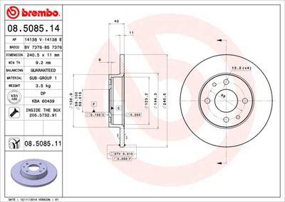 BREMBO Remschijf COATED DISC LINE (08.5085.11)