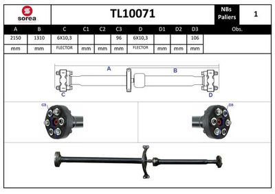 EAI Aandrijfas, asaandrijving (TL10071)