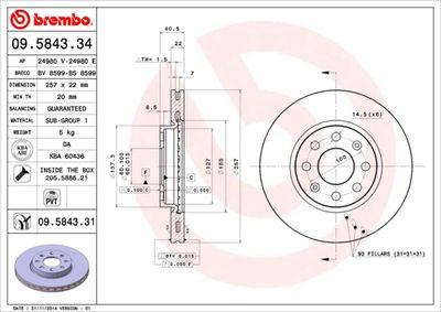 BREMBO Remschijf COATED DISC LINE (09.5843.31)