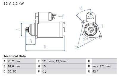 BOSCH Startmotor / Starter (0 986 020 270)