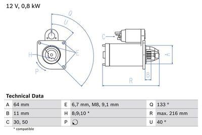 BOSCH Startmotor / Starter (0 986 021 590)