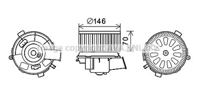 AVA QUALITY COOLING Elektrische motor, Interieurventilatie (PE8378)
