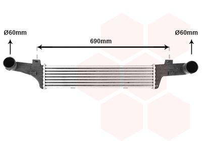 VAN WEZEL Intercooler, inlaatluchtkoeler (30004224)