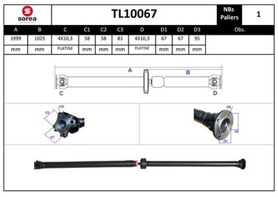 EAI Aandrijfas, asaandrijving (TL10067)