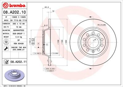 BREMBO Remschijf COATED DISC LINE (08.A202.11)